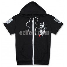 New! Attack on Titan SNK Short Sleeves Black/White/Green Hoodie Jacket