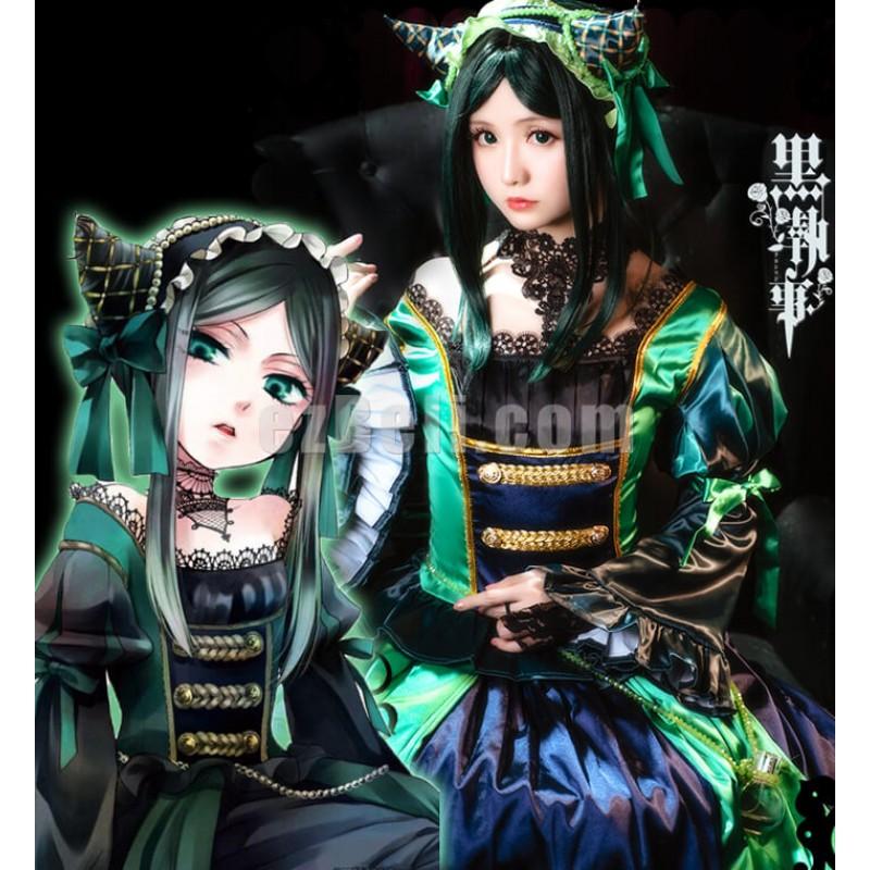 New! Black Butler Kuroshitsuji Sieglinde Sullivan Green Witch Lolita Dress Cosplay Costume