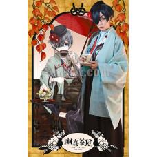 New! Anime Black Butler Kuroshitsuji Ciel Phantomhive Chaya Kimono Hakama Cosplay Costume