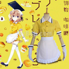 New! Anime Blend S Hoshikawa Mafuyu Yellow Maid Outfit Dress Cosplay Costume