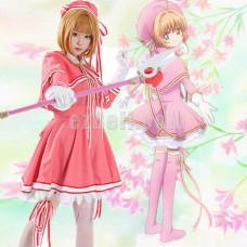 New! Anime Cardcaptor Sakura Clear Card Sakura Kinomoto Tomoyo Daidouji Pink Battle Suit Cosplay Costume