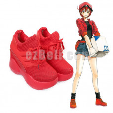 New! Anime Cells At Work Leukocyte Hataraku Saibou Erythrocyte Red Blood Cell Cosplay Shoes
