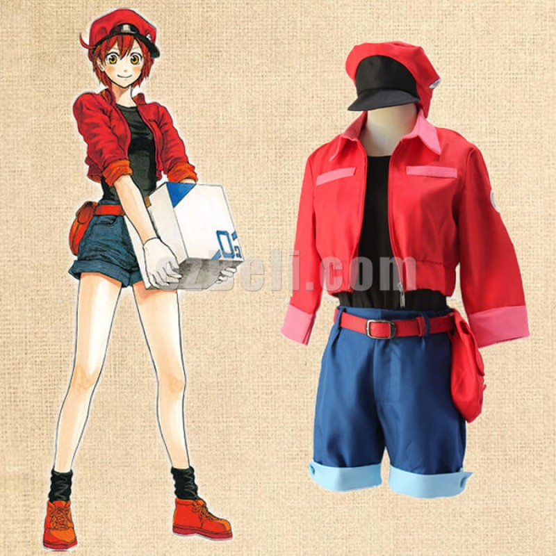 New! Anime Cells At Work Leukocyte Cosplay Hataraku Saibou Erythrocyte Red Blood Cell Cosplay Costume