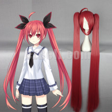 New! Anime Date A Live Itsuka Kotori Long Red Orange Cosplay Wig
