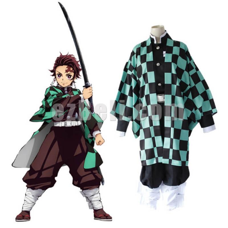 New! Anime Demon Slayer Kimetsu no Yaiba Tanjirou Kamado Japanese Kimono Blade of Demon Destruction Cosplay Costume