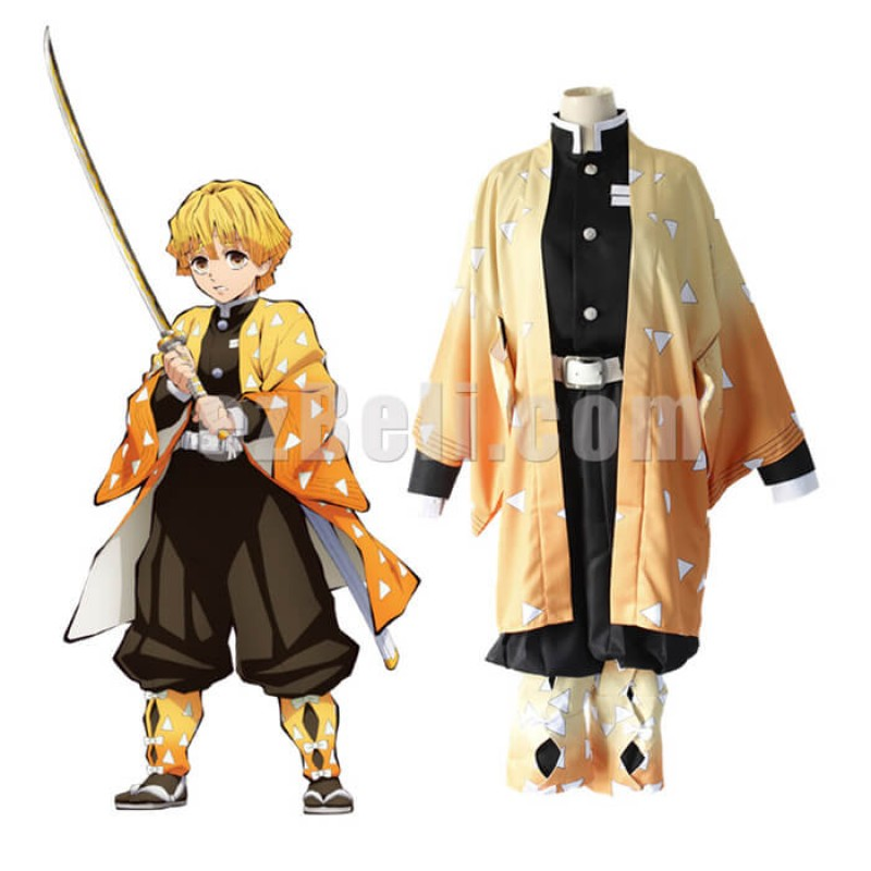 New! Anime Demon Slayer Kimetsu no Yaiba Zenitsu Agatsuma Japanese Kimono Blade of Demon Destruction Cosplay Costume