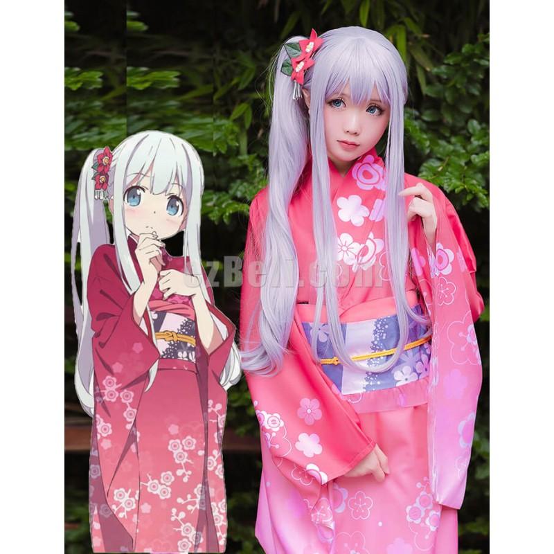 New! Anime Eromanga Sensei Izumi Sagiri Pink Flowery Japenese Kimono Yukata Cosplay Costume
