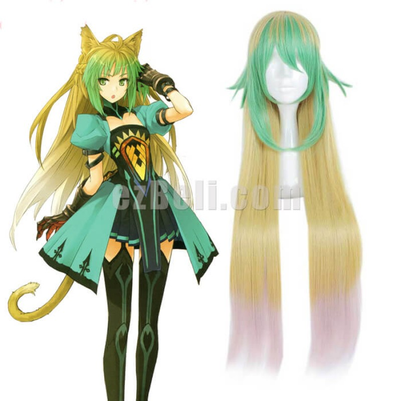 New! Anime Fate/Apocrypha Archer of Red Atalanta Long Green Blonde Cosplay Wig