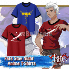 New! Anime Fate/Apocrypha Archer Saber Casual Cosplay Print T-Shirt