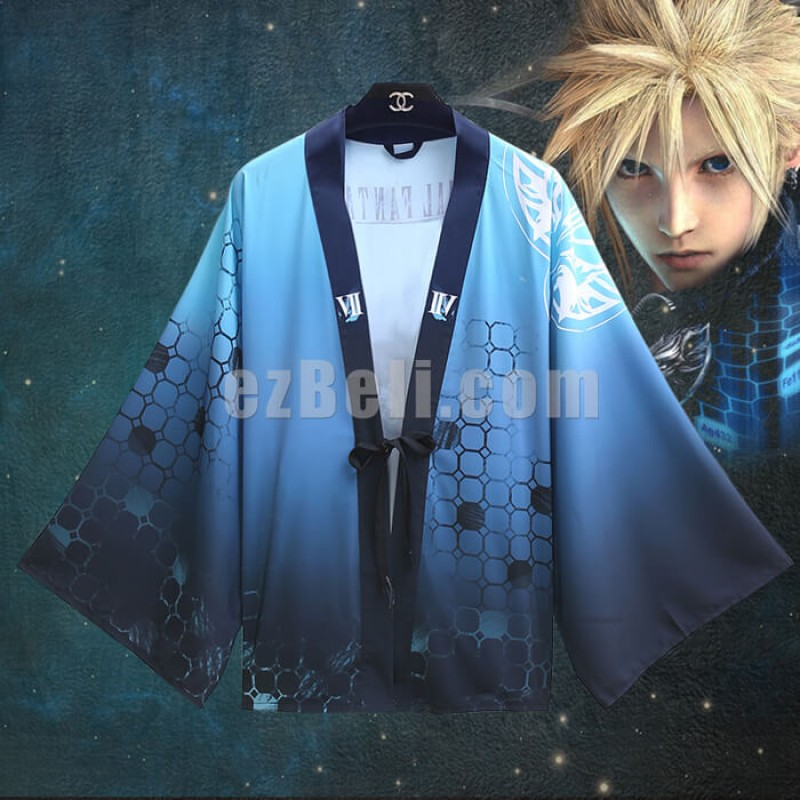 New! Anime Final Fantasy VII Cloud Strife Haori Casual Cosplay Japanese Chiffon Kimono Yukata Cloak