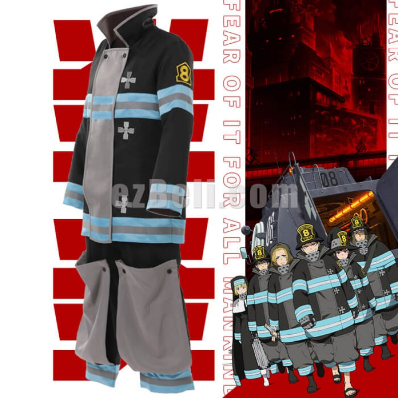New! Anime Fire Force Shinra Kusakabe Maki Oze Fireman Uniform Enen no Shouboutai Women Men Cosplay Costume