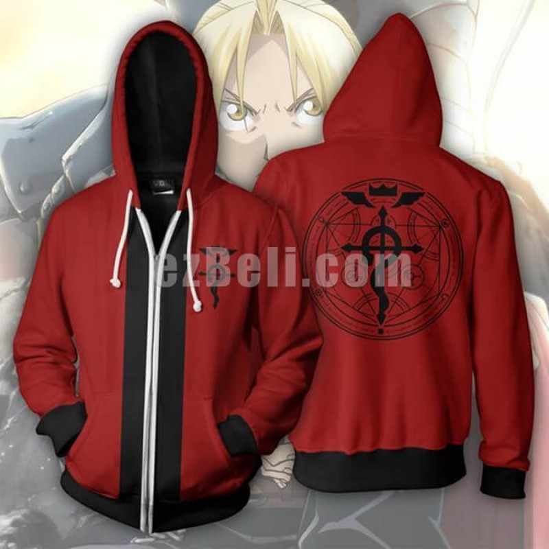 New! Anime Fullmetal Alchemist Edward Elric Unisex Zip Up Hoodie Casual Cosplay Jacket