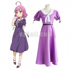 New! Anime Gakkou Gurashi! School-Live! Sakura Megumi Purple Dress Cosplay Costume