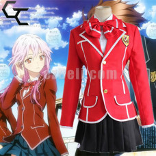 New! Anime Guilty Crown Yuzuriha Inori Red School Uniform Cosplay Costume