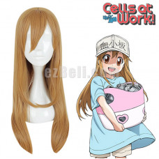 New! Anime Cells at Work Platelet Cosplay Hataraku Saibou Long Straight Blonde Women Cosplay Wig