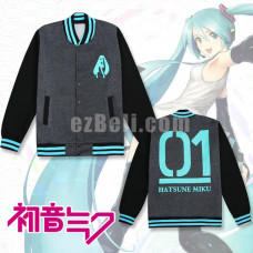 New! Anime Vocaloid Hatsune Miku Warm Long Sleeves Baseball Jacket