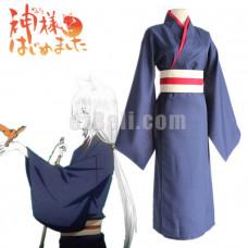 New! Kamisama Hajimemashita Kamisama Kiss Tomoe Navy Blue Kimono Cosplay Costume