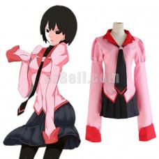New! Anime Owarimonogatari Ougi Oshino Cosplay Costume Pink School Uniform