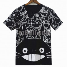 New! My Neighbor Totoro Short Sleeves Black T-Shirt Casual Cosplay