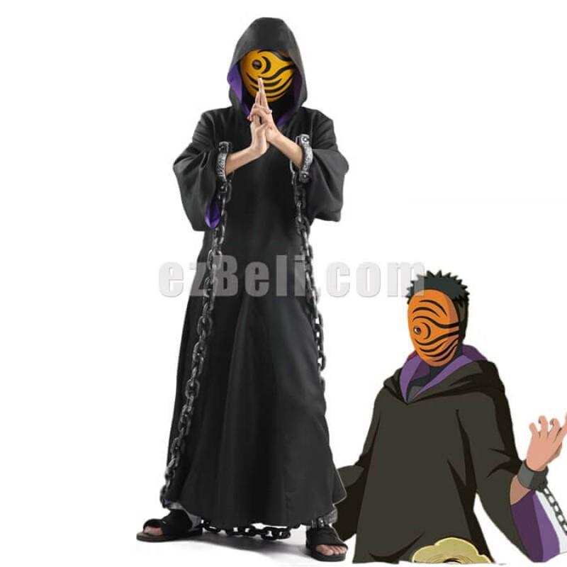 New! Naruto Akatsuki Ninja Tobi Obito Madara Uchiha Black Cape Long Sleeves Cosplay Costume