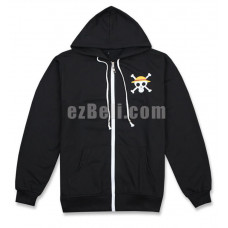 New! Anime One Piece New World Monkey D Luffy Hoodie Cosplay Costume Black Long Sleeve Hooded Jacket