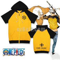 New! Anime One Piece Trafalgar Law Short Sleeve Casual Cosplay Hoodie Jacket