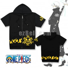 New! Anime One Piece Trafalgar Law Hoodie Cosplay Costumes Short Sleeve Casual Hooded Sweatshirt