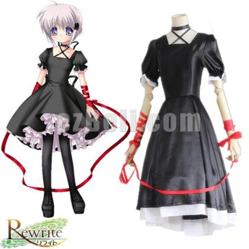 New! Anime Rewrite Harvest festa! Kagari Black Lolita Dress Cosplay Costumes