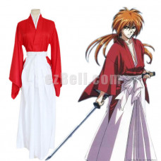 New! Anime Rurouni Kenshin Himura Kenshin Cosplay Costumes Men's Red Japanese Kimono