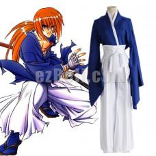 New! Anime Rurouni Kenshin Himura Kenshin Cosplay Costumes Men's Blue Japanese Kimono