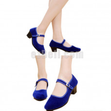 New! Anime Lolita Kawaii Female Girls Maid Blue Cosplay Shoes