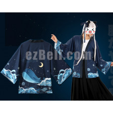 New! Anime Sea Whale Chiffon Pajamas Cloaks Casual Cosplay Yukata Kimono Coat Bathrobes