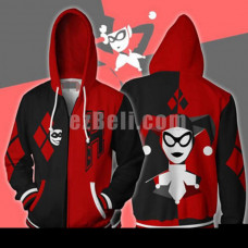 New! Suicide Squad Harley Quinn Black Red Clown Casual Cosplay Hoodie Jacket