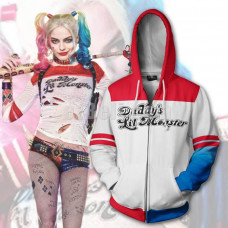 New! Suicide Squad Harley Quinn Casual Cosplay Hoodie Jacket