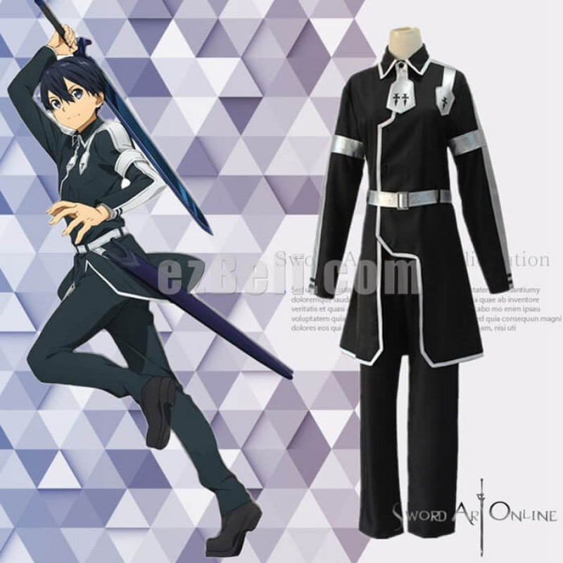 New! Anime SAO Sword Art Online Alicization Kirigaya Kazuto Black Uniform Cosplay Costumes