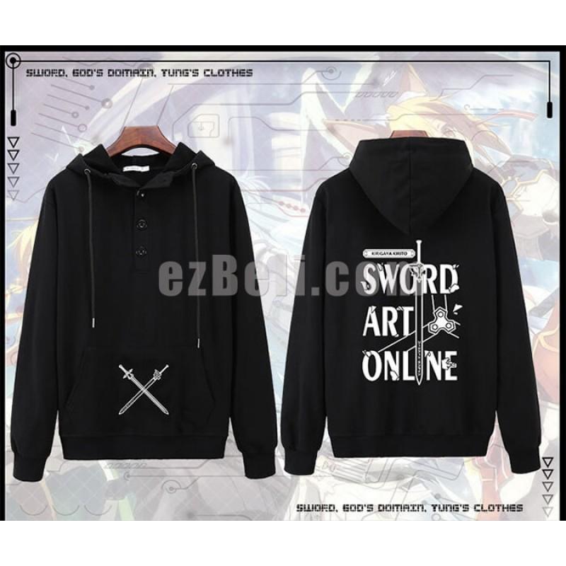 New! Sword Art Online Kirigaya Kazuto Kirito Yuki Asuna Black Long Sleeves Casual Cosplay Hoodie Jacket
