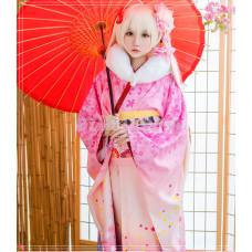 New! Anime Yosuga no Sora Kasugano Sora Pink Flowery Kimono Dress Cosplay Costumes