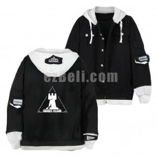 New! Game Arknights Black Denim Jacket Unisex Casual Print Unisex Denim Hoodie