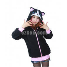 New! Black Cat with Ears Hoodie Jacket