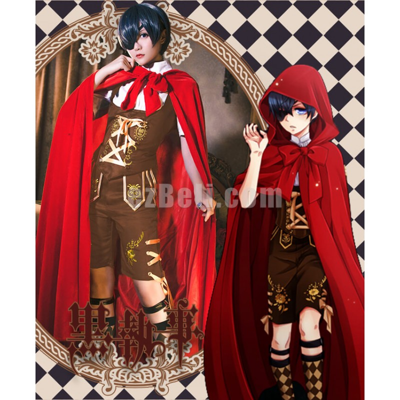 New! Anime Black Bulter Kuroshitsuji Ciel Phantomhive  Little Red Riding Hood Uniform Set with Red Cloak Cosplay Costume