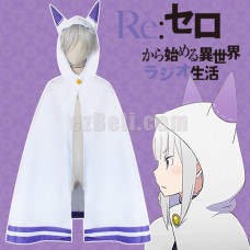 New!  Re:Zero kara Hajimeru Isekai Seikatsu Emilia Cosplay Cat Ears Cloak Cape