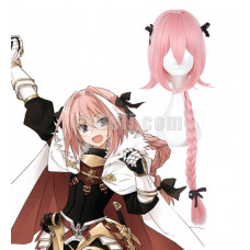 New! Fate/Apocrypha Astolfo Rider Pink Long Braided Styled Cosplay Wig