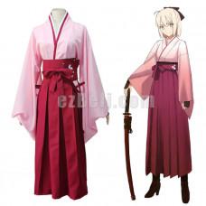 New! Fate Grand Order Sakura Saber Okita Souji Kimono Cosplay Costume