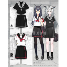 New! Game Arknights Texas and Lappland Theme JK Sailor School Uniform Dress Cosplay Costume