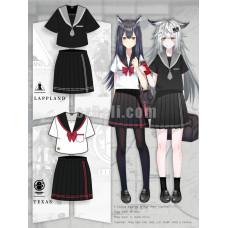 New! Game Arknights Texas and Lappland Theme JK Sailor School Uniform Dress Cosplay Costume