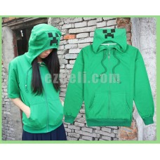 New! Game Minecraft Creeper Casual Cosplay Short Sleeves Hoodie Sweatshirt Jacket