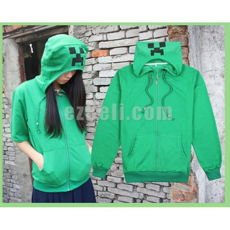 New! Game Minecraft Creeper Casual Cosplay Short Sleeves Hoodie Sweatshirt Jacket
