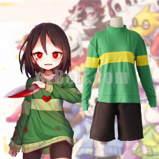 New! Game Undertale Chara Cosplay Costume Men Women Sweatshirt and Shorts Party Role Play Costumes