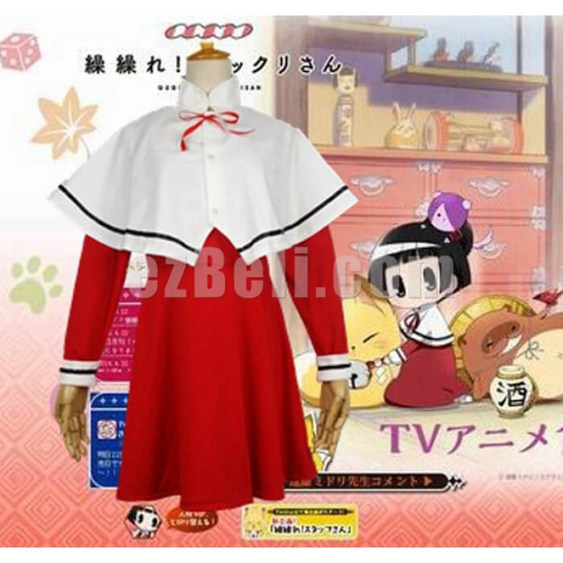 New! Anime Gugure! Kokkuri-san Kohina Ichimatsu costume Red Dress Cosplay Costumes