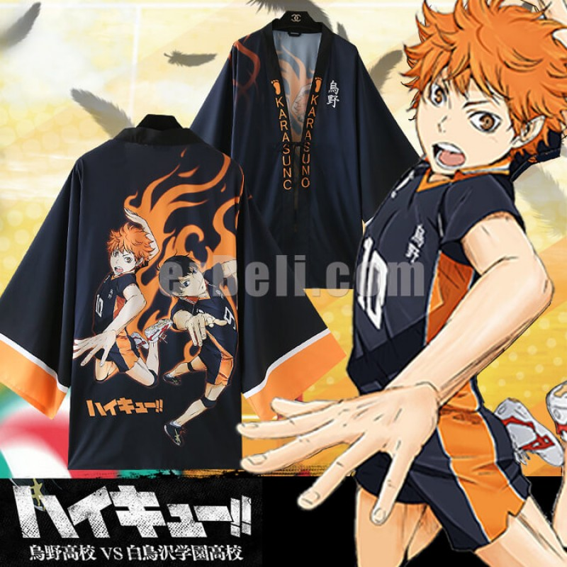 New! Anime Haikyuu!!  Karasuno High School Volleyball Club Chiffon Pajamas Cloaks Hinata Shyouyou Casual Cosplay Yukata Kimono Coat Bathrobes